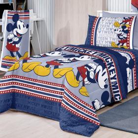 Jogo de Cama Solteiro Kids 100% algod�o - Mickey Mouse - Santista