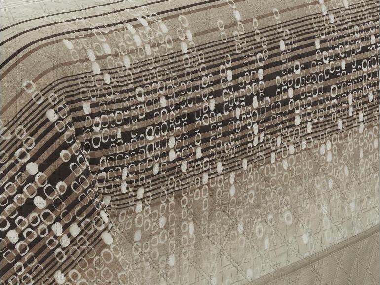 Kit: 1 Cobre-leito Casal Bouti de Microfibra Ultrasonic Estampada + 2 Porta-travesseiros - Milfort Castanho - Dui Design