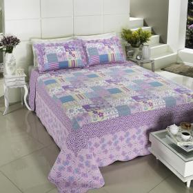 Kit: 1 Cobre-leito Queen Bouti de Algod�o PatchWork + 2 Porta-travesseiros - Minna Lil�s - Dui Design