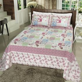 Kit: 1 Cobre-leito Queen Bouti de Algod�o PatchWork + 2 Porta-travesseiros - Minna Rosa Pink - Dui Design