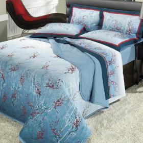 Kit: 1 Cobre-leito Casal + 2 Porta-travesseiros Percal 180 fios - Misaki Azul - Dui Design
