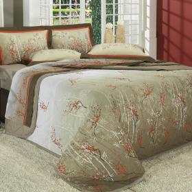 Kit: 1 Cobre-leito Casal + 2 Porta-travesseiros Percal 180 fios - Misaki Caqui - Dui Design