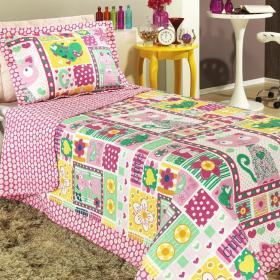 Kit: 1 Cobre-leito Solteiro Bouti de Microfibra PatchWork + 1 Porta-travesseiro - Missy Pink - Dui Design