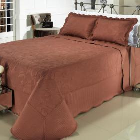 Kit: 1 Cobre-leito King Bouti Bordada de Microfibra + 2 Porta-travesseiros - Mitra Conhaque - Dui Design