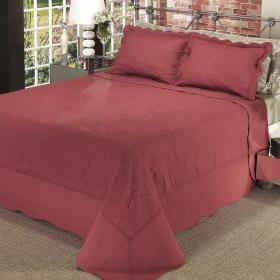 Kit: 1 Cobre-leito King Bouti Bordada de Microfibra + 2 Porta-travesseiros - Mitra Vermelho - Dui Design