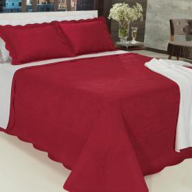Kit: 1 Cobre-leito Casal Bouti Bordada de Microfibra + 2 Porta-travesseiros - Mitra Vermelho - Dui Design
