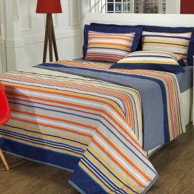 Kit: 1 Cobre-leito Casal + 2 Portas-travesseiro 150 fios - Montecarlo Azul - Dui Design