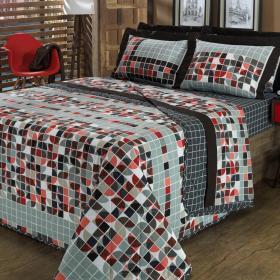 Kit: 1 Cobre-leito Casal + 2 Porta-travesseiros 150 fios - Montreal Cinza - Dui Design
