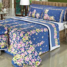 Enxoval Casal com Cobre-leito 7 pe�as 150 fios - Muriel Azul - Dui Design