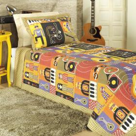 Kit: 1 Cobre-leito Solteiro Bouti de Microfibra PatchWork + 1 Porta-travesseiro - Music Multicolor - Dui Design