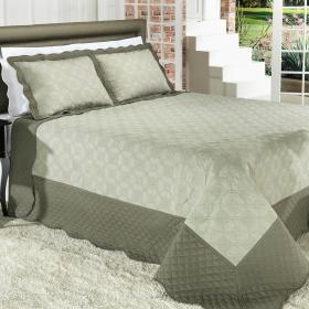Kit: 1 Cobre-leito Casal Bouti Bordada de Microfibra + 2 Porta-travesseiros - Nantes Oliva - Dui Design