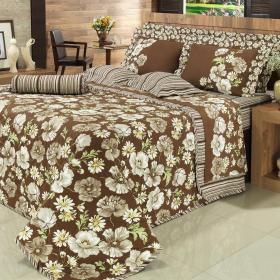 Kit: 1 Cobre-leito Casal + 2 Portas-travesseiro 150 fios - Narcisa Caf� - Dui Design