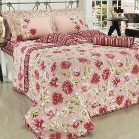 Kit: 1 Cobre-leito Casal + 2 Portas-travesseiro 150 fios - Narcisa Rosa Velho - Dui Design