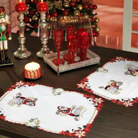 Jogo Americano Natal 4 Lugares (4 pe�as) com Bordado Richelieu 35x50cm - Noel - Dui Design