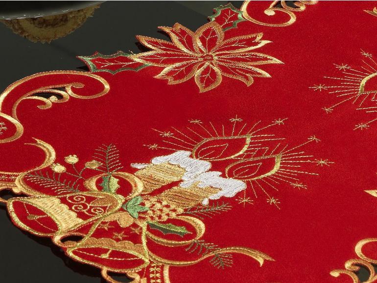 Jogo Americano Natal 4 Lugares (4 peças) com Bordado Richelieu 35x50cm - Noite Feliz Vermelho - Dui Design
