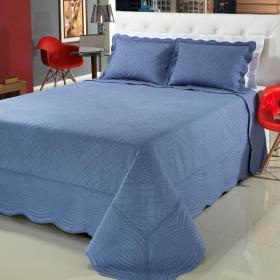 Kit: 1 Cobre-leito Queen Bouti Bordada de Microfibra + 2 Porta-travesseiros - Opera Indigo - Dui Design