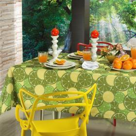 Toalha de Mesa Quadrada 4 lugares 140x140cm - Orange Lim�o - Dui Design