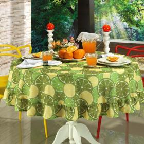 Toalha de Mesa Redonda 160cm - Orange Lim�o - Dui Design