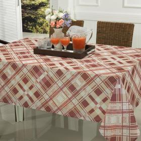 Toalha de Mesa Retangular 6 lugares 140x210cm - Oregon Vermelho Rosado - Dui Design