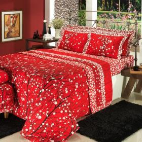 Edredom Casal 150 fios - Orient Vermelho - Dui Design