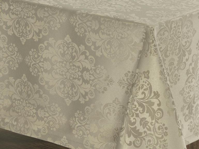 Toalha de Mesa Fácil de Limpar Retangular 8 Lugares 160x270cm - Ornato Bege - Dui Design