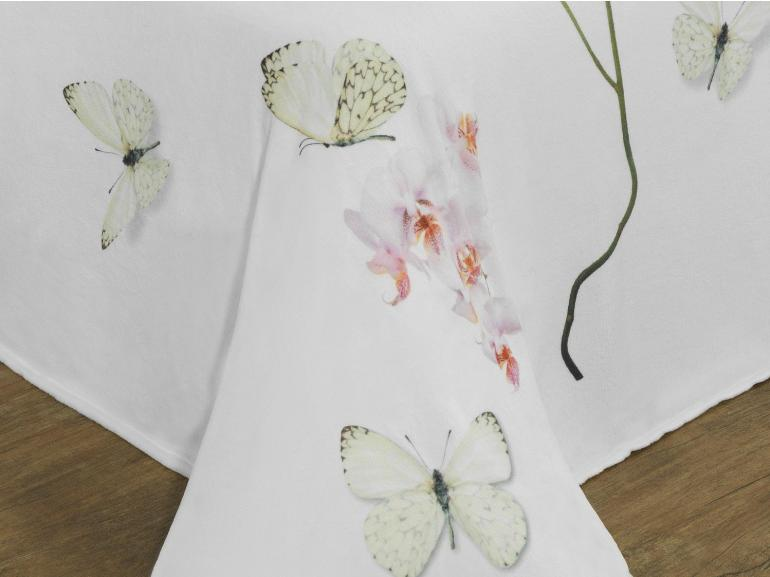 Cobertor Avulso Casal Flanelado com Estampa Digital - Orquideas - Dui Design