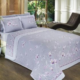 Kit: 1 Cobre-leito Casal + 2 Porta-travesseiros Percal 200 fios - Orquideas Lil�s - Dui Design