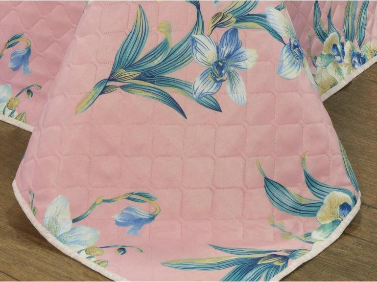 Kit: 1 Cobre-leito Casal Bouti de Microfibra Ultrasonic Estampada + 2 Porta-travesseiros - Orquideas Rosa - Dui Design