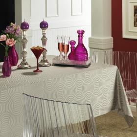 Toalha de Mesa F�cil de Limpar Quadrada 4 Lugares 160x160cm - P�dua Cinza - Dui Design