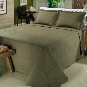 Kit: 1 Cobre-leito Queen Bouti Bordada de Microfibra + 2 Porta-travesseiros - Palace Oliva - Dui Design