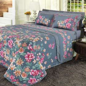 Kit: 1 Cobre-leito Queen + 2 Portas-travesseiro 150 fios - Palmira �ndigo - Dui Design
