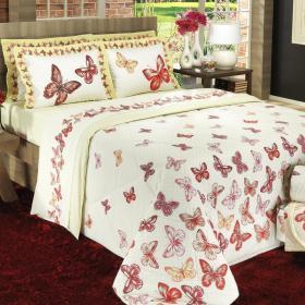 Kit: 1 Cobre-leito Casal + 2 Portas-travesseiro 150 fios - Papilon Vermelho - Dui Design
