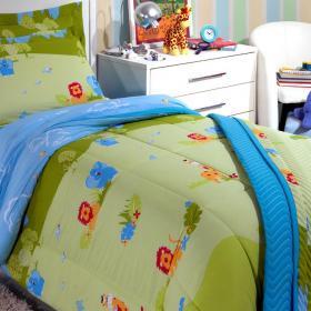 Kit: 1 Cobre-leito Solteiro Kids + 1 Porta-travesseiro 150 fios - Park - Kacyumara