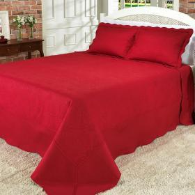 Kit: 1 Cobre-leito King Bouti Bordada de Microfibra + 2 Porta-travesseiros - Parma Vermelho - Dui Design
