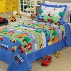 Kit: 1 Cobre-leito Solteiro Kids Bouti de Microfibra PatchWork Ultrasonic + 1 Porta-travesseiro - Passatempo Azul - Dui Design