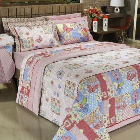 Kit: 1 Cobre-leito Casal + 2 Portas-travesseiro 150 fios - Patch Rosa - Dui Design