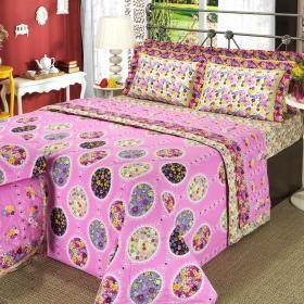 Kit: 1 Cobre-leito Solteiro + 1 Porta-travesseiro 150 fios - Patr�cia Pink - Dui Design