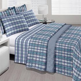 Kit: 1 Cobre-leito Casal + 2 Porta-travesseiros Percal 180 fios - Paul Azul - Santista