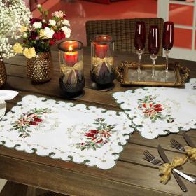 Jogo Americano Natal 4 Lugares (4 pe�as) com Bordado Richelieu 35x50cm - Paz - Dui Design