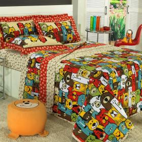 Kit: 1 Cobre-leito Solteiro Kids + 1 Porta-travesseiro 150 fios - Pet Multicor - Dui Design