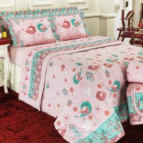 Enxoval Casal com Cobre-leito 7 pe�as 150 fios - Piby Rosa - Dui Design