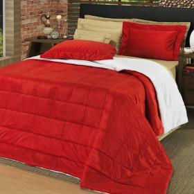 Kit: 1 Edredom King Plush e Pele de Carneiro + 2 Porta-travesseiros - Plush Sherpa Vermelho - Dui Design