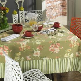 Toalha de Mesa com Barra Aplicada Retangular 6 Lugares 160x220cm - Polyana Vermelho Rosado - Dui Design