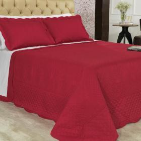 Kit: 1 Cobre-leito Casal Bouti Bordada de Microfibra + 2 Porta-travesseiros - Pompeli Vermelho - Dui Design