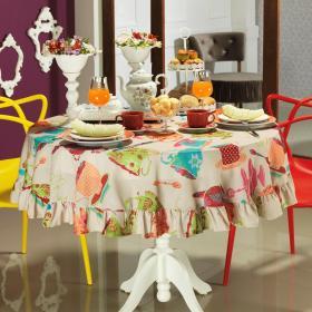 Toalha de Mesa Redonda 160cm - Porcelana Multicor - Dui Design