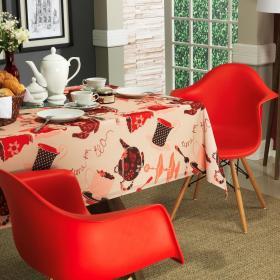 Toalha de Mesa Quadrada 4 lugares 140x140cm - Porcelana Vermelho - Dui Design