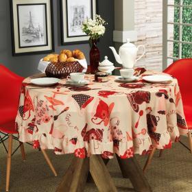 Toalha de Mesa Redonda 160cm - Porcelana Vermelho - Dui Design