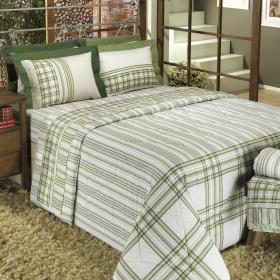 Kit: 1 Cobre-leito Casal + 2 Portas-travesseiro 150 fios - Portland Verde - Dui Design