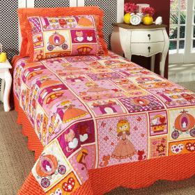 Kit: 1 Cobre-leito Solteiro Kids Bouti de Microfibra PatchWork + 1 Porta-travesseiro - Princesinha Vermelho - Dui Design