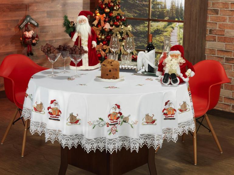 Toalha de Mesa Natal com Bordado Richelieu Redonda 180cm - Prosperidade Branco - Dui Design